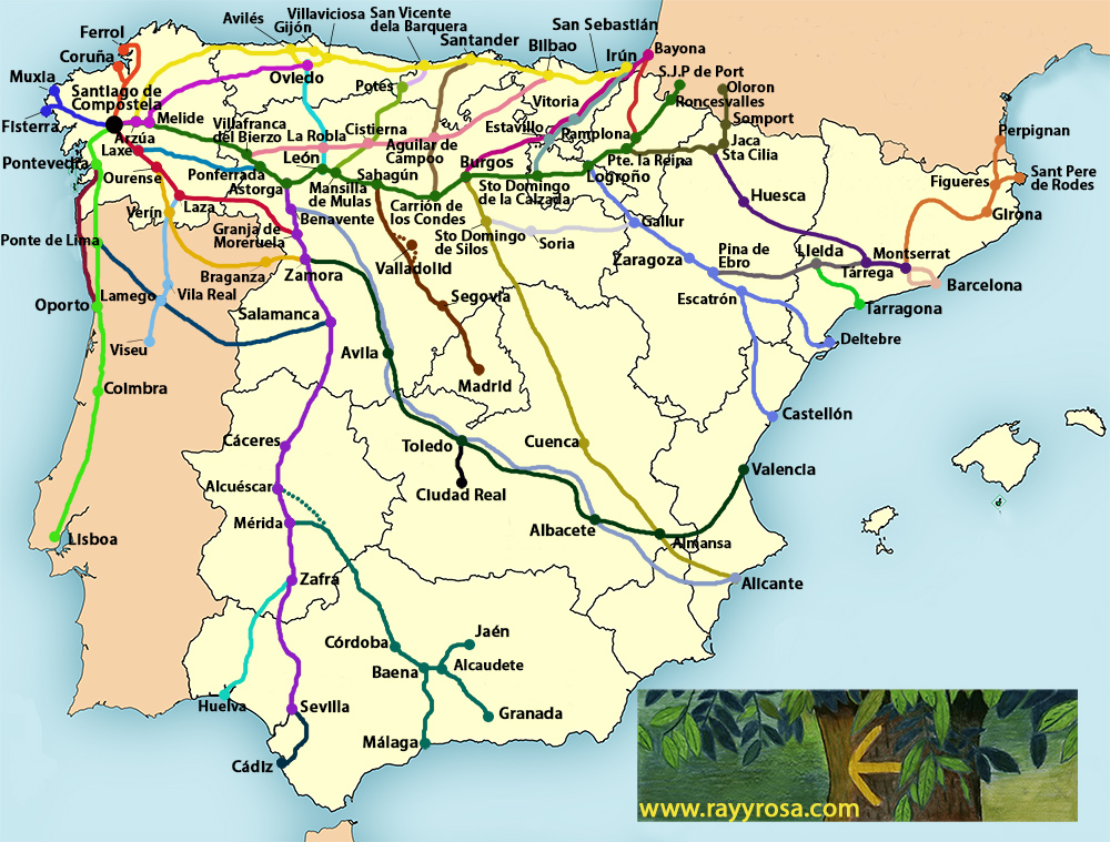 map of camino de santiago with Rayyrosa on El Camino De Santiago furthermore EuroVelo in addition About P lona Navarra furthermore 1F7 also Tramos descripcion general.